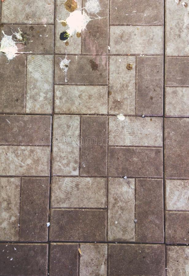 Bird droppings on the sidewalk, tile, background texture. Wallpaper stock photos