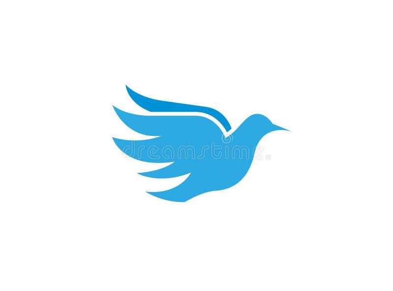 Bird eagle open wings for flying logo design, peace shape royalty free illustration