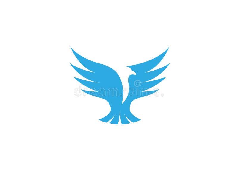 Bird eagle open wings flying for logo design stock illustration