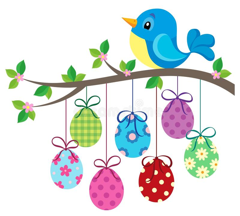 Bird and Easter eggs theme image 1 stock illustration