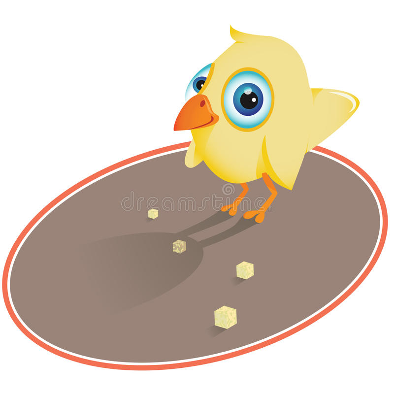 Bird eating crumbs stock image
