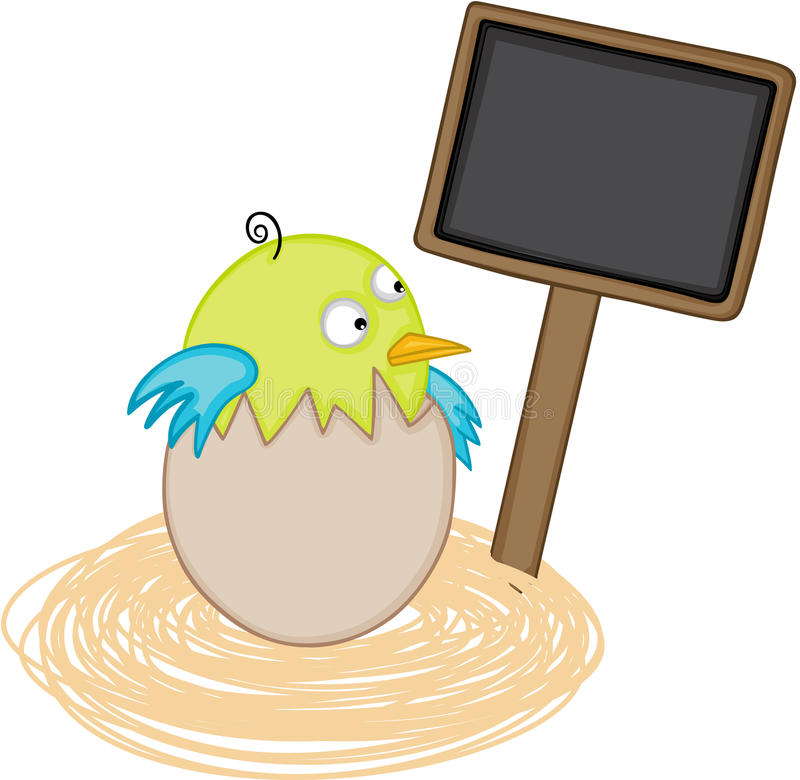 Bird in egg nest with blank wood sign stock illustration