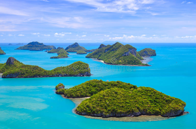 Bird eye view of Angthong national marine park, koh Samui, Thailand stock photography