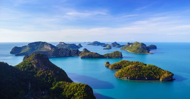 Bird eye view of Angthong national marine park, koh Samui, Thailand. Bird eye view of Angthong national marine park, koh Samui, Suratthani, Thailand stock photography