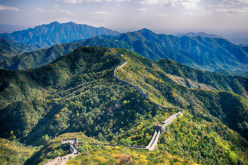 Bird eye view of China Great Wall royalty free stock photos