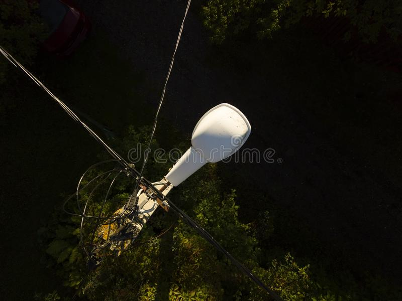 Bird eye view of the electric post royalty free stock image