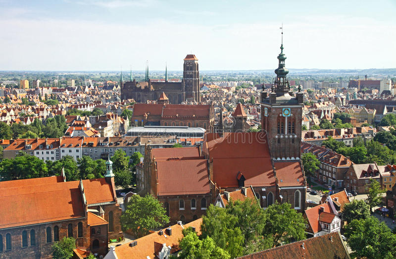 Bird eye view of Gdansk city centre, Poland stock image