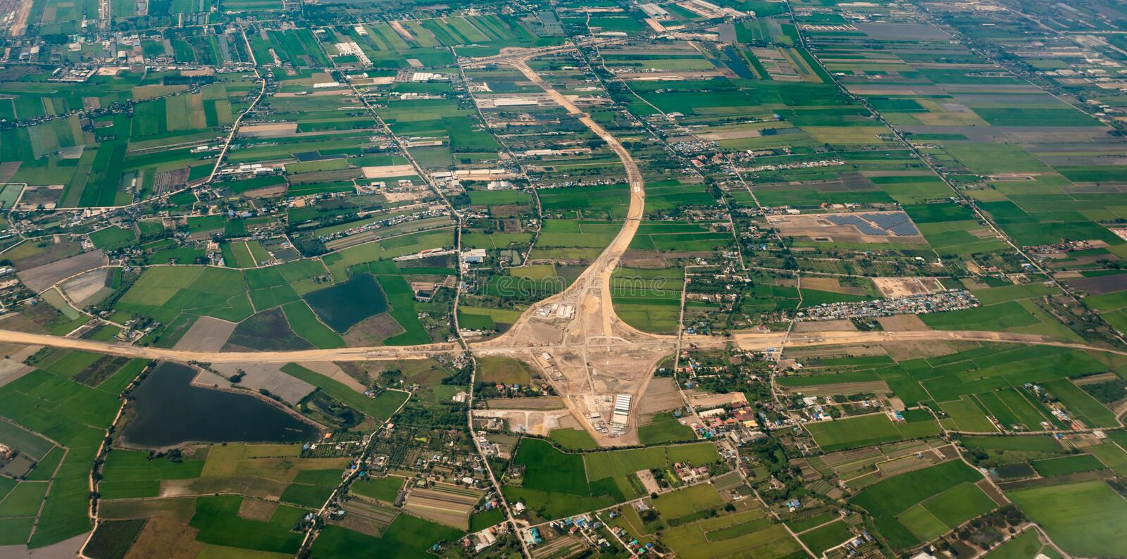 Bird eye view landscape urban and road construction site scene. From aircraft royalty free stock images