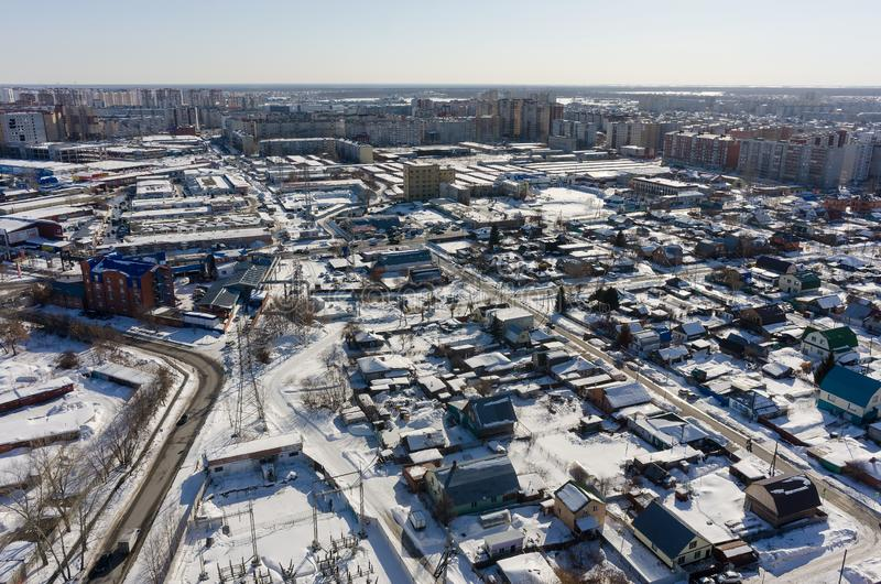 Bird eye view on 30 Let Pobedy street. Tyumen. Russia royalty free stock photos