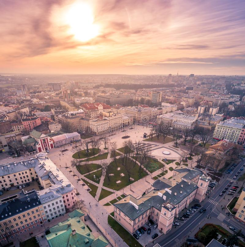 The beautiful panorama of Lublin royalty free stock photo