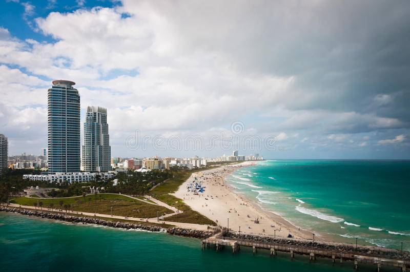 Download Bird-eye View Of Pier And South Miami Beach Stock Photo - Image: 83712933