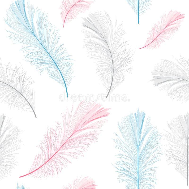 Bird Feather Hand Drawn Seamless Pattern Background Vector. Illustration. EPS10 stock illustration