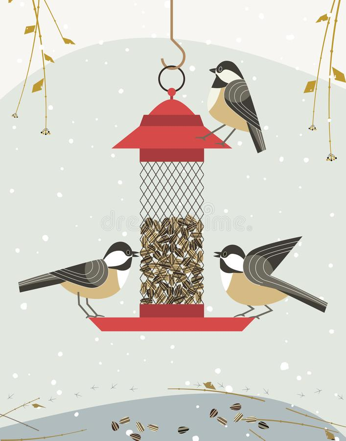 Bird feding icon. Cute black capped chickadee bird poster. Comic flat cartoon. Minimalism simplicity design. Winter birds feeding by sunflower seeds in feeder vector illustration