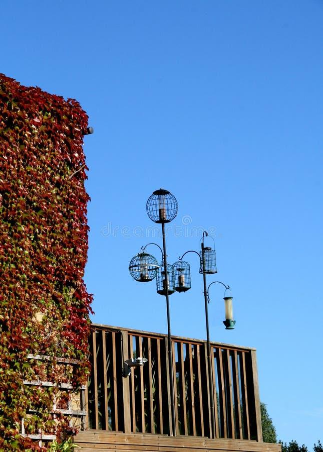 Bird feeders. Set of bird feeders against a bright sunny blue sky royalty free stock photography