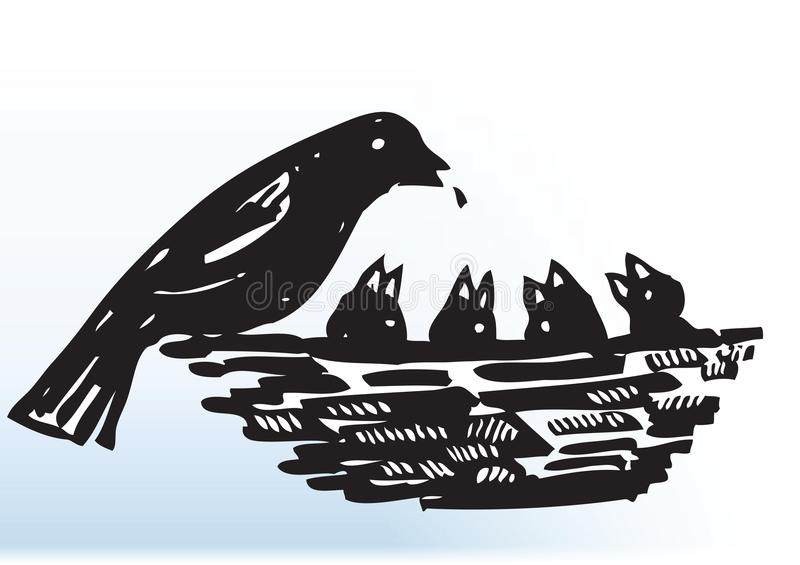 Bird feeding chicks in nest. Illustration of bird feeding chicks or fledglings in nest; isolated on white background stock illustration