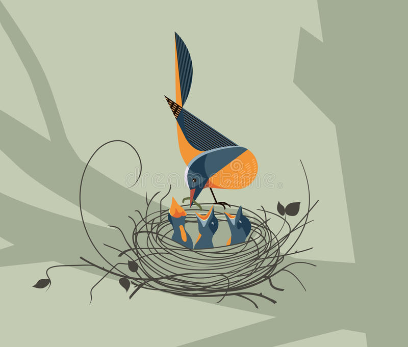 The bird feeds the chicks in the nest. N forest background vector illustration