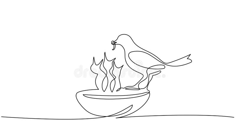 Bird feeds chicks silhouettes one line drawing vector illustration