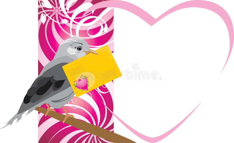 Download Bird With Festive Envelope. Valentines Card Stock Photo - Image: 22831350