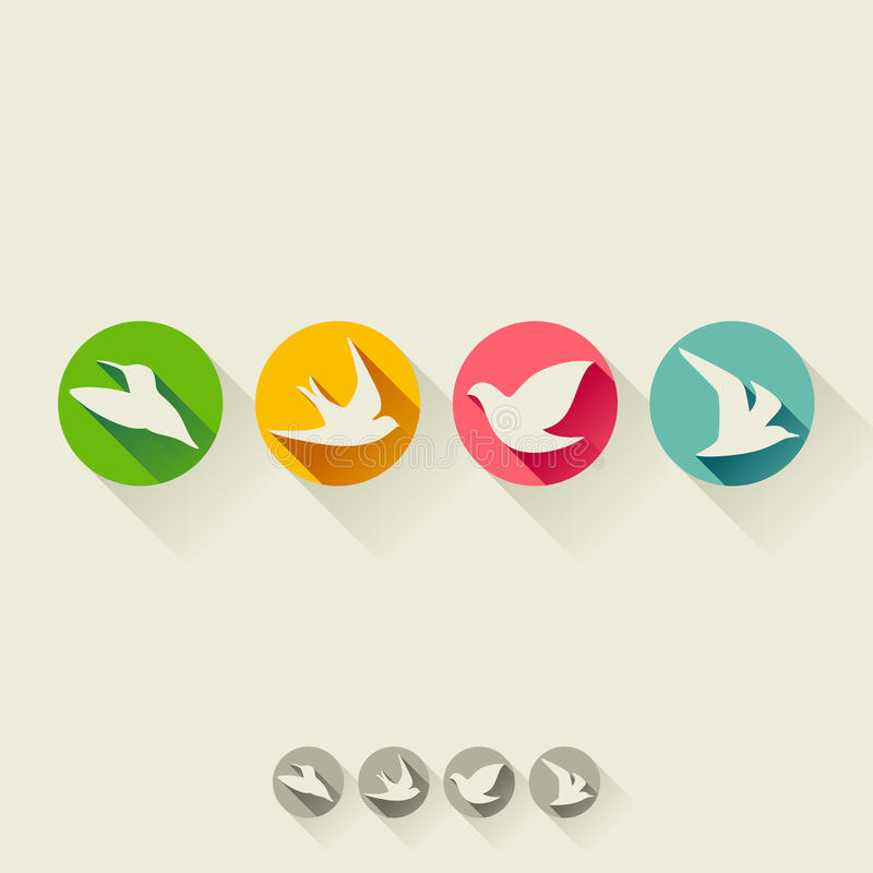 Free Bird. Flat Icon With Long Shadow. Set Of Vectors Royalty Free Stock Photo - 35132395