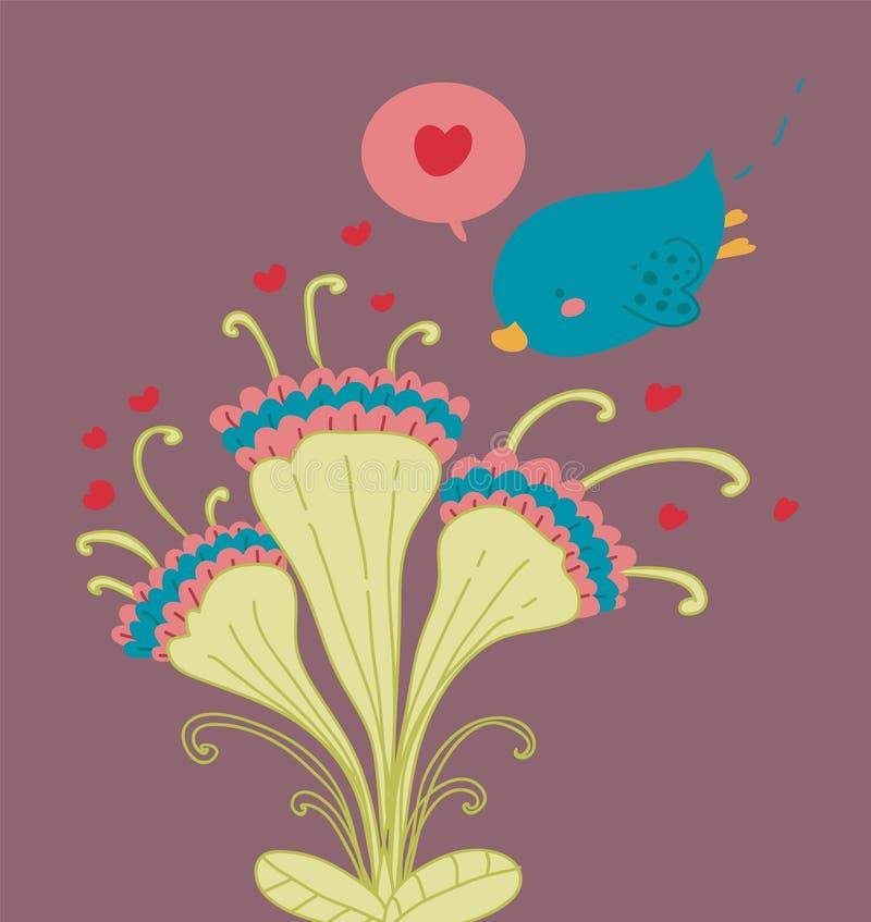 A bird flies on three funny flowers stock photo