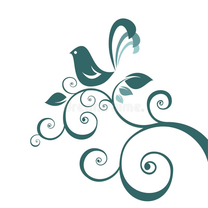 Bird and floral pattern royalty free illustration