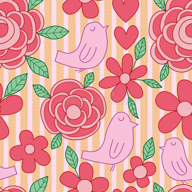 Bird flower leaf line vertical fabric seamless pattern. This illustration is design bird purple, flower red and orange circle fabric vertical lace line in stock illustration