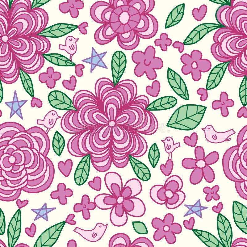 Bird flower line drawing pastel seamless pattern vector illustration