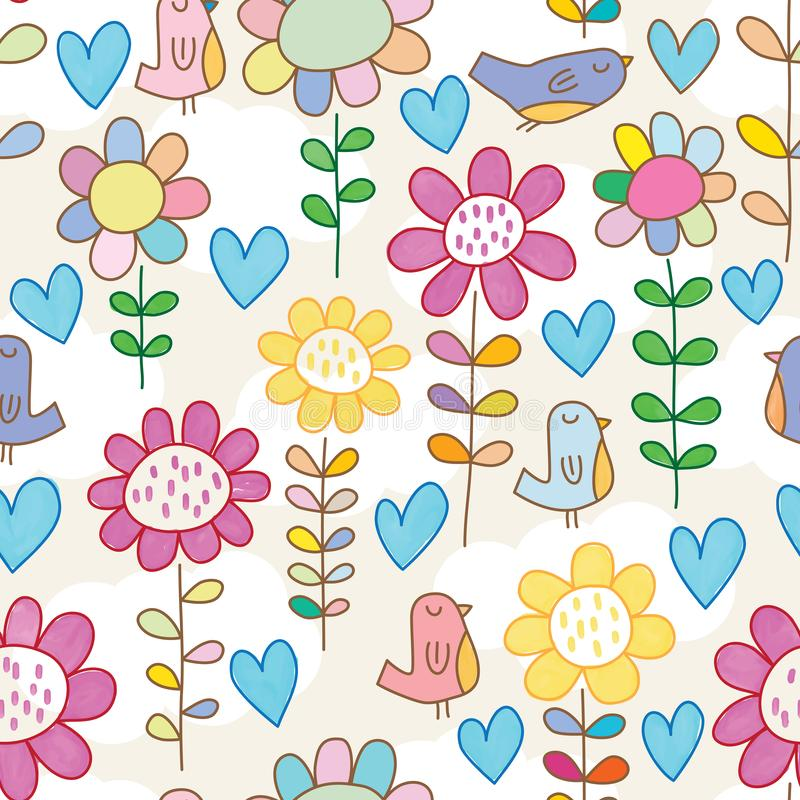 Bird flower not match watercolor seamless pattern. This illustration is design abstract bird flower not match watercolor in seamless pattern background royalty free illustration