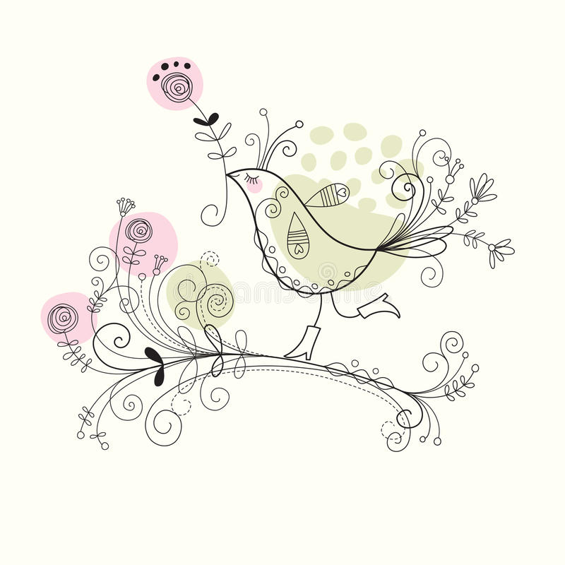 Download Bird with flowers stock vector. Image of passion, flourish - 14363470