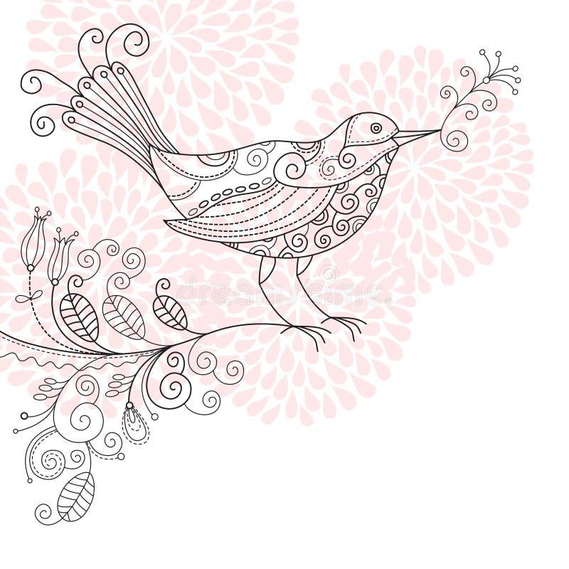 Bird with flowers stock illustration