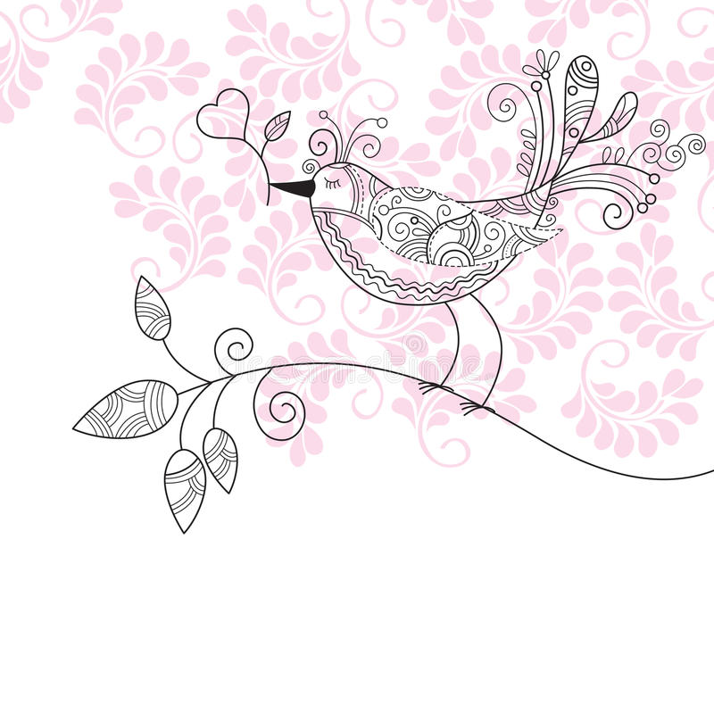 Bird with flowers vector illustration