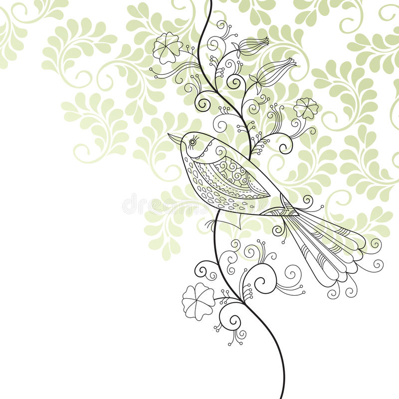 Bird and flowers vector illustration