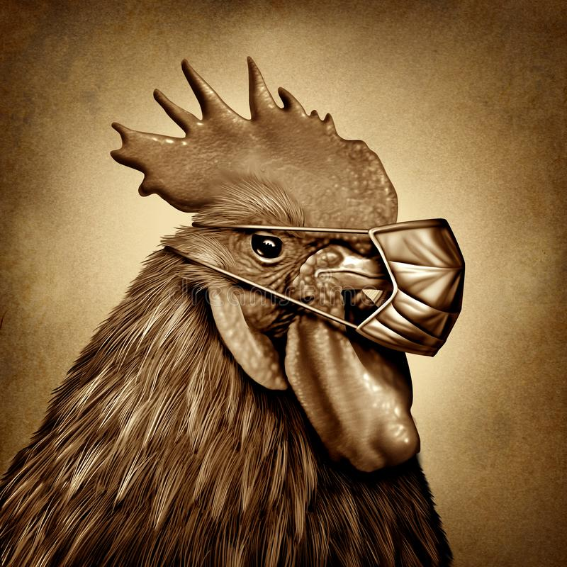 Bird Flu. And avian influenza as a farm chicken with a medical mask as a virus outbreak public health hazard caused by contaminated infected poultry in a 3D vector illustration