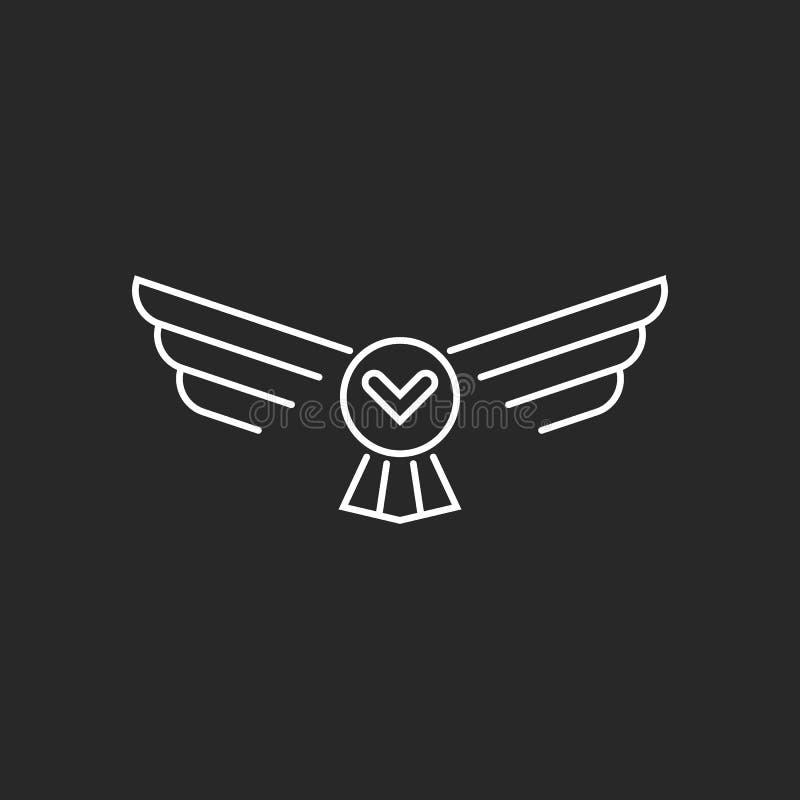 Bird flying owl logo thin lines linear minimalist style design element, hipster monogram tattoo idea royalty free illustration