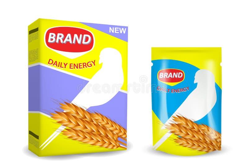 Bird food package mockup set, vector isolated illustration stock illustration