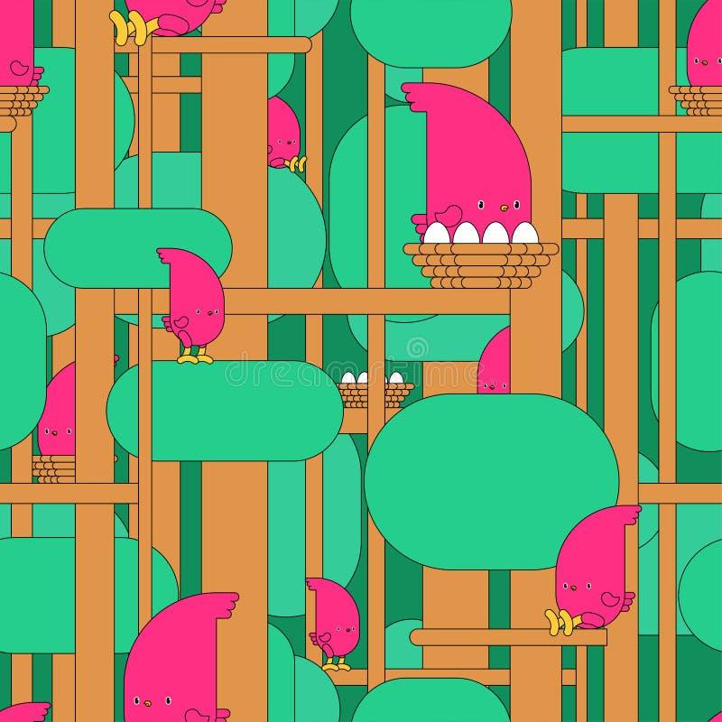 Bird in Forest pattern cartoon. Birdie on tree background. Baby cloth texture. vector ornament vector illustration