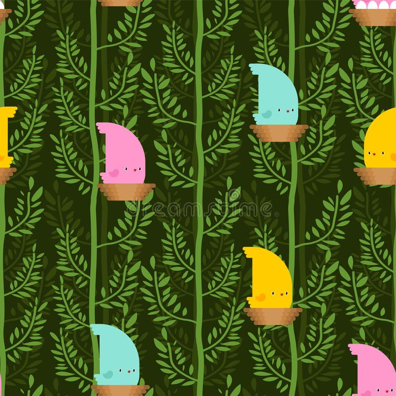Bird in Forest pattern cartoon. Birdie on tree background. Baby cloth texture. vector ornament royalty free illustration