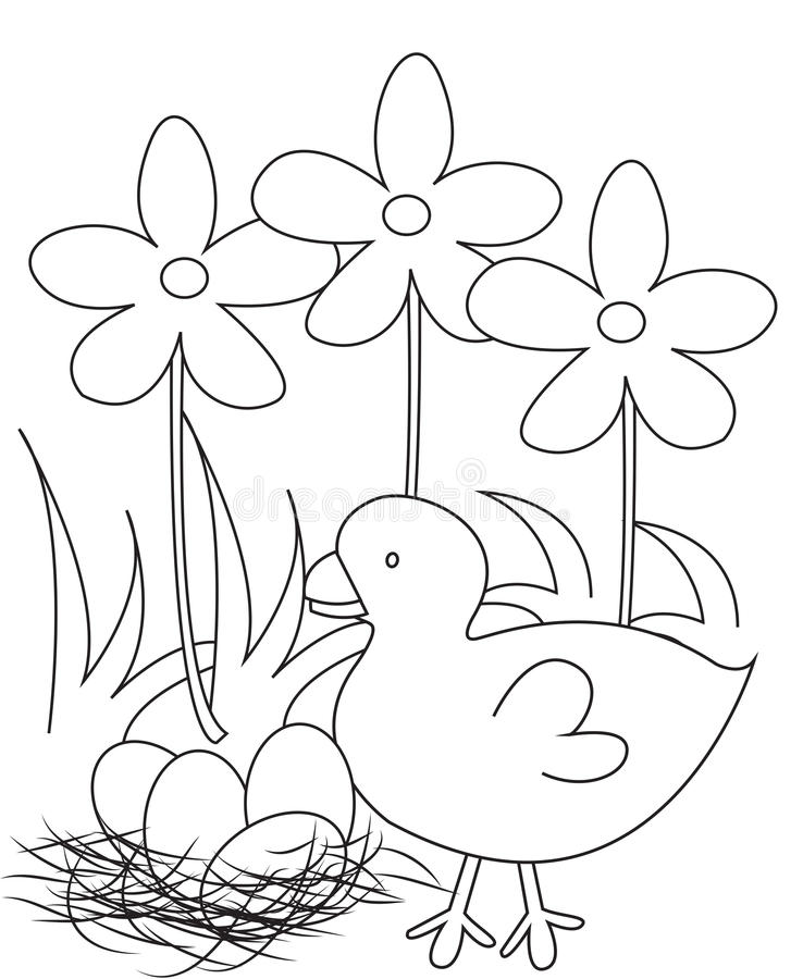 Bird with four eggs coloring page royalty free illustration