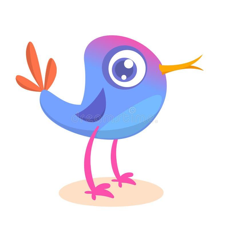 Funny cartoon bird. Vector colorful bird illustration or vector illustration