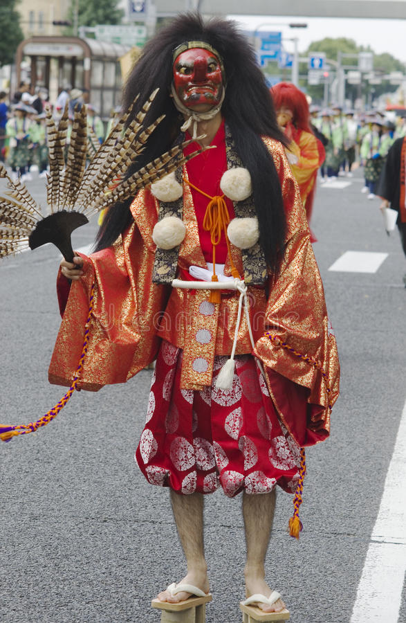 Bird ghost at Nagoya Festival, Japan. Bird ghost in traditional costumes at 62nd Nagoya Matsuri Festival, Japan royalty free stock image