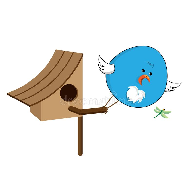 The bird got out of the house to grab a dragonfly. Concept house and chick in the form of the number forty. stock illustration