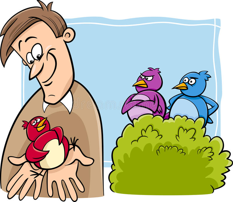 Bird in the hand cartoon vector illustration