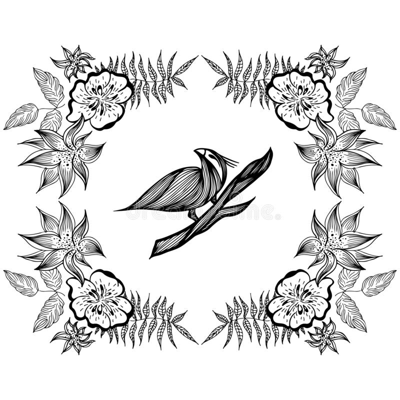 Bird hand-drawn branch in outline style on white background. Background vector illustration. Bird hand-drawn branch in the vector illustration