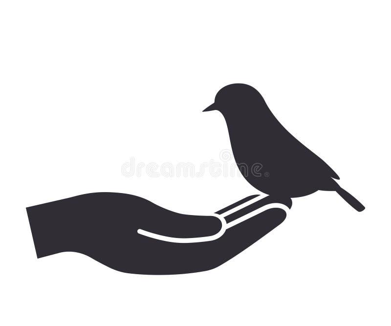 Bird on the hand vector illustration