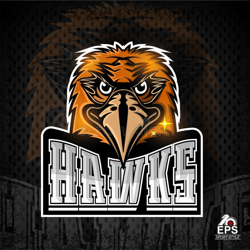 Bird head logo for any sport team hawks on dark stock illustration