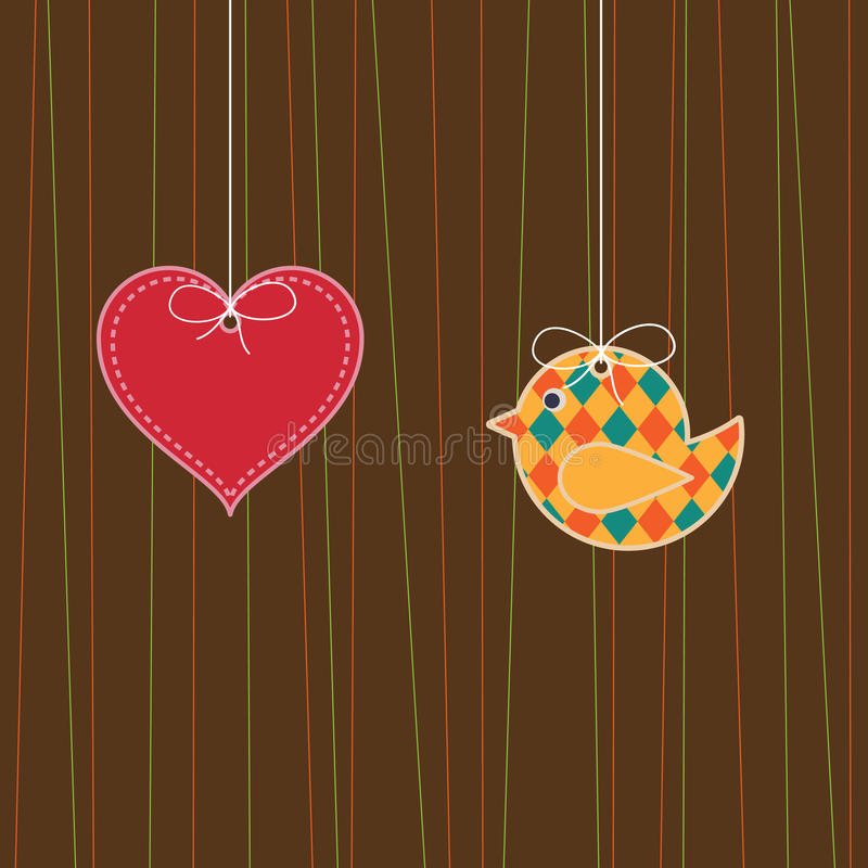 Download Bird and heart stock vector. Illustration of hanging, object - 9649902
