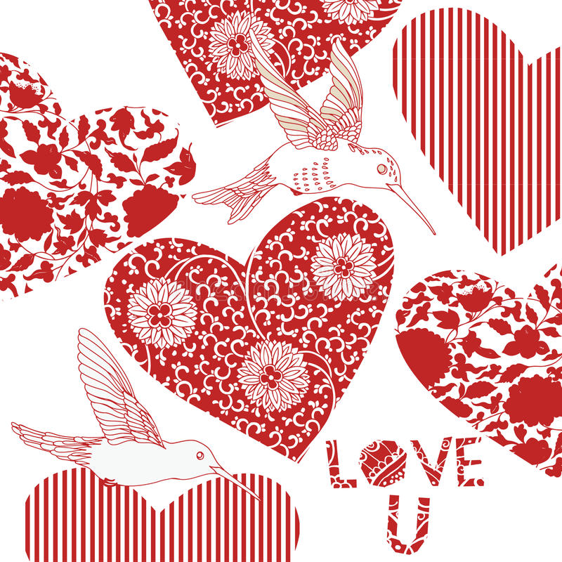 Bird and heart design vector illustration