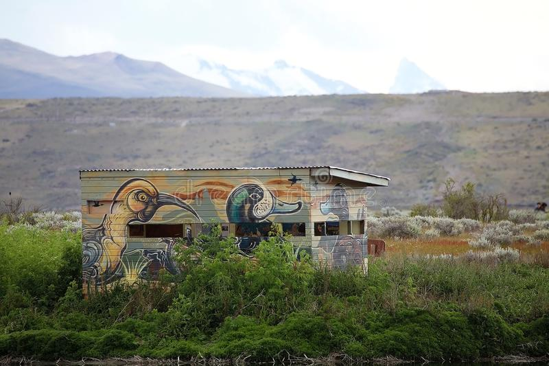 Bird hide at Laguna Nimez, a wildlife reserve at El Calafate in Patagonia, Argentina. The reserve is a few steps from the city center and close to Lake royalty free stock photo