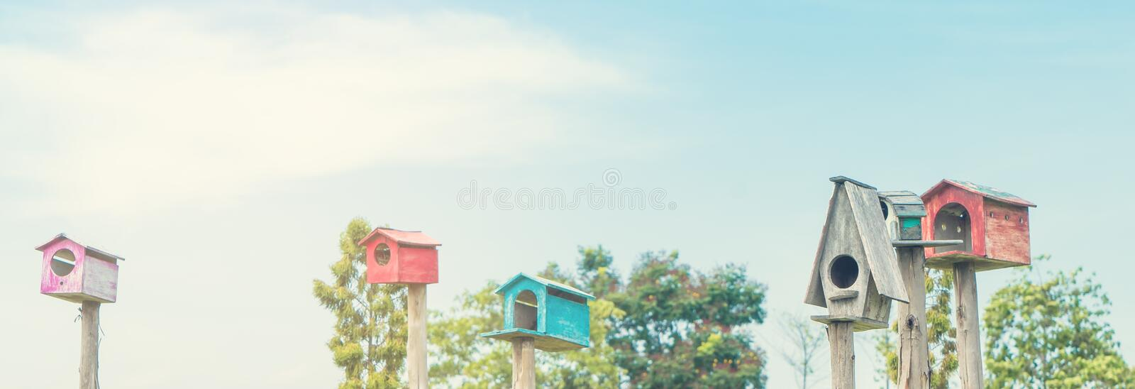 Bird house background with copy space of blue sky. Bird house with copy space of blue sky royalty free stock photography