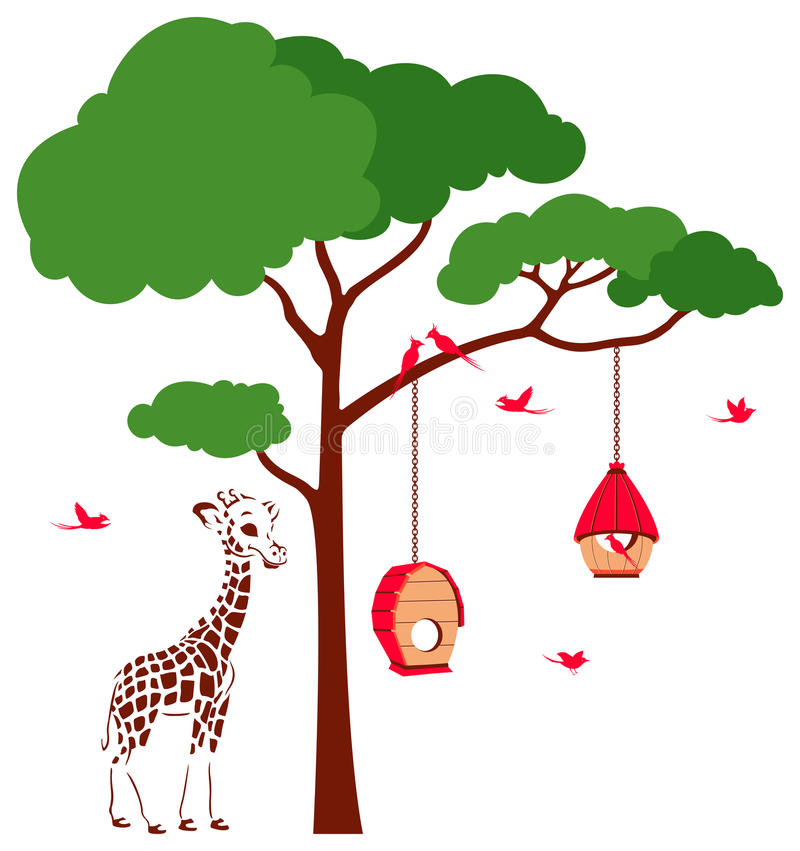 Download Bird House With Birds And Giraffe Stock Illustration - Illustration of nature, celebration: 35173831